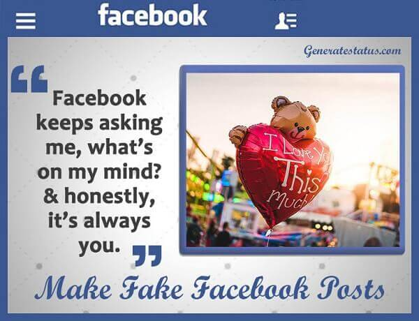 Fake Facebook Status Generator