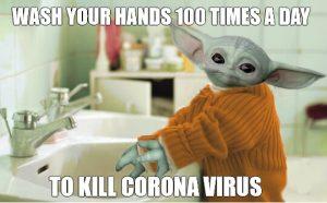 Baby Yoda Washing Hands