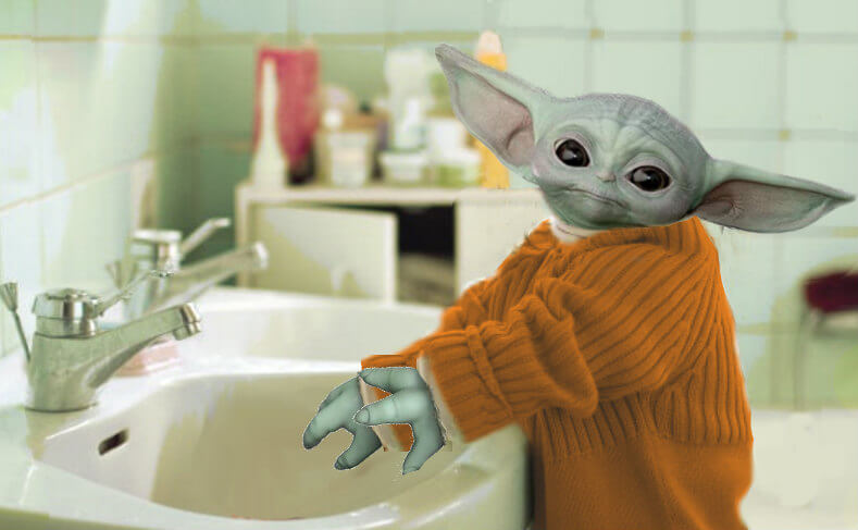 Baby Yoda Washing Hands